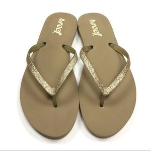 Reef gold glitter and tan flip flops size 8W